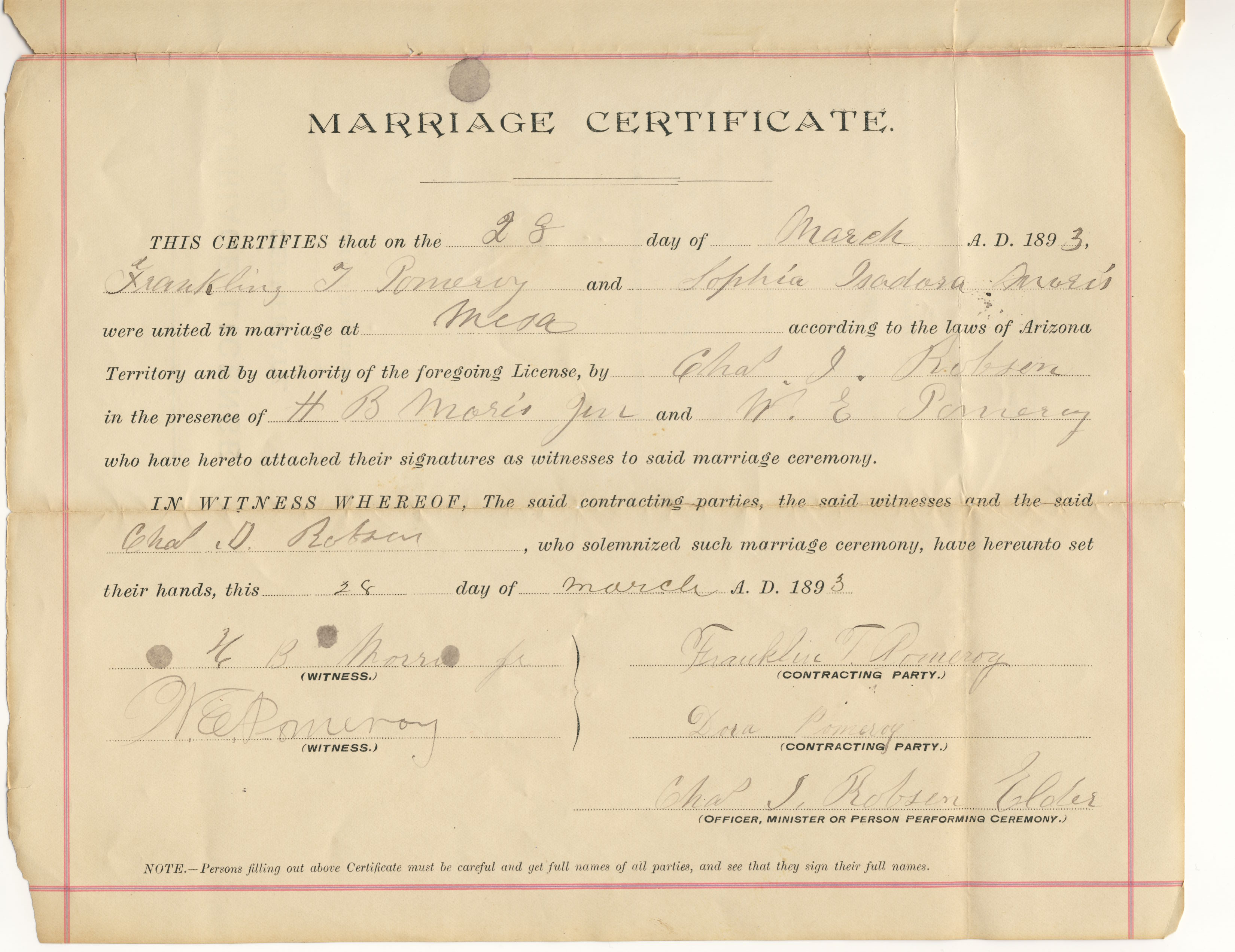 Franklin T. Pomeroy and Sophia Isadora Morris marriage certificate ...