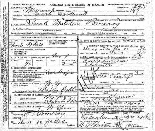 AZ death certificate