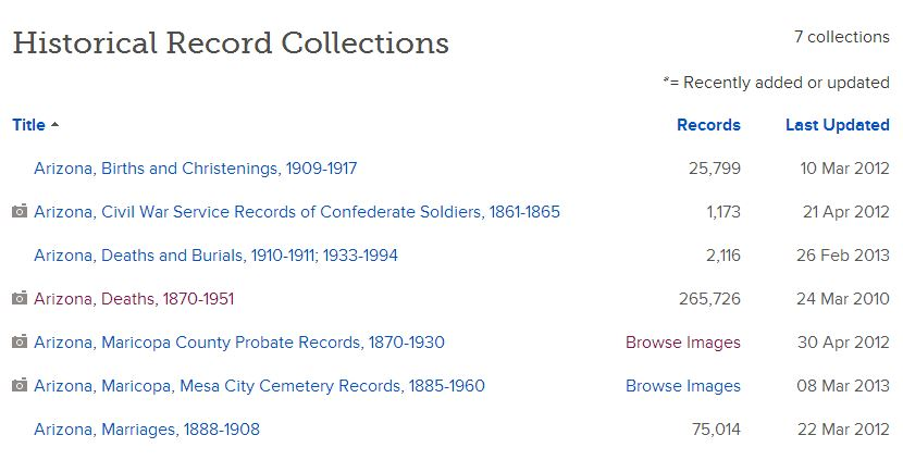 Arizona digital collections at Familysearch as of 18 Jul 2013