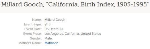 California Birth Index, 1905-1995, on Familysearch.org, Millard Gooch entry