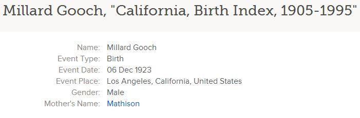 California Birth Index, 1905-1995, on Familysearch.org, Millard Gooch entry