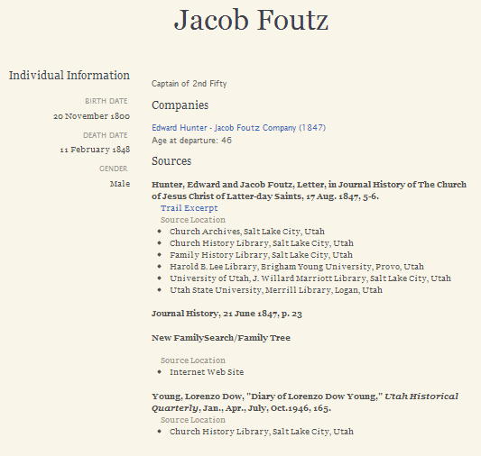 Jacob Foutz entry