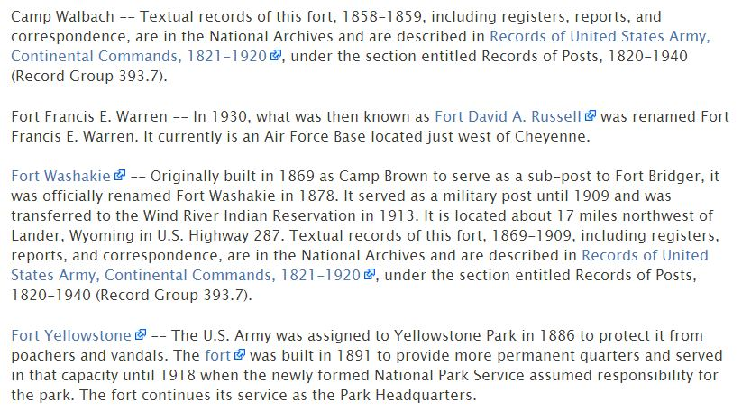 The Research Wiki lists forts under the state's Military Records