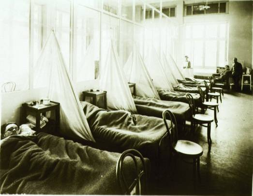 U. S. Army Camp Hospital No. 45, Aix-les-Bains, France. Influenza ward No. 1. Picture courtesy of the History of Medicine (NLM).  http://history1900s.about.com/od/photographs/ig/1918-Spanish-Flu-Pictures/Influenza-Ward-at-an-Army-Camp.htm