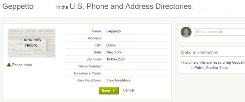 Geppetto in the Phone Directory