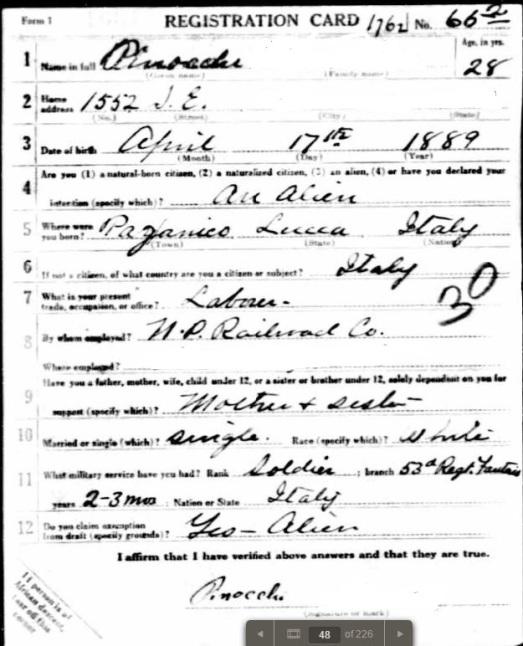 Pinocchio WWI Draft Registration, p1