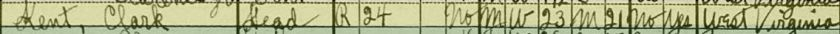 Clark Kent in the 1930 U.S. census in Steubenville, Jefferson County, Ohio