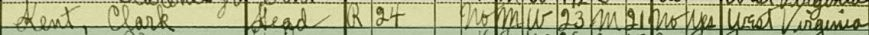 Clark Kent in the 1930 U.S. census in Steubenville, Jefferson County, Ohio