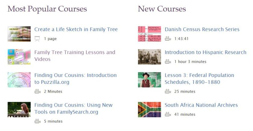 FamilySearch Online Courses