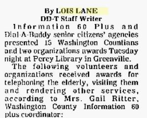 Lois Lane, Delta Democrat TImes, Greenville, Mississippi