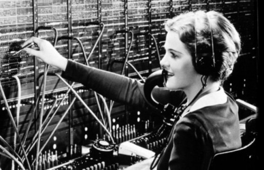Telephone operator with an eery resemblance to Mary Poppins...