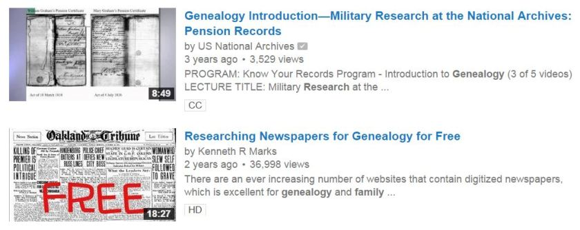 "Youtube search for ""Genealogy Research"""