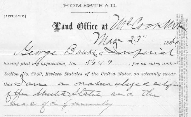 George Banks, Nebraska, Homestead Records, 1861-1936, Ancestry.com