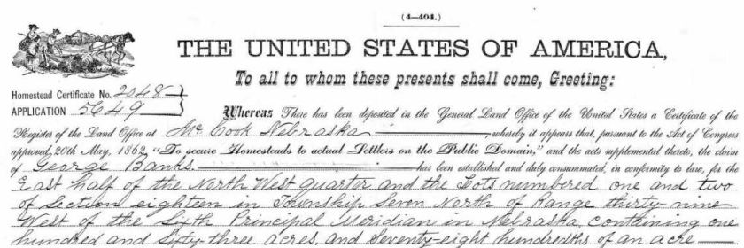 George Banks, Nebraska, Homestead Records, 1861-1936, Ancestry.com