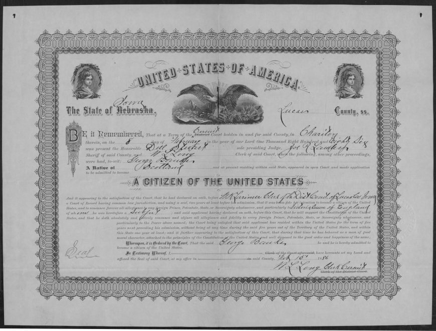 George Banks, Nebraska, Naturalization Certificate, Homestead Records, 1861-1936, Ancestry.com