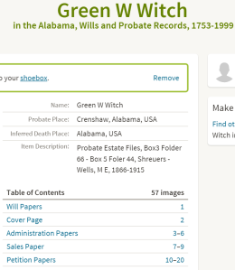 Green Witch probate