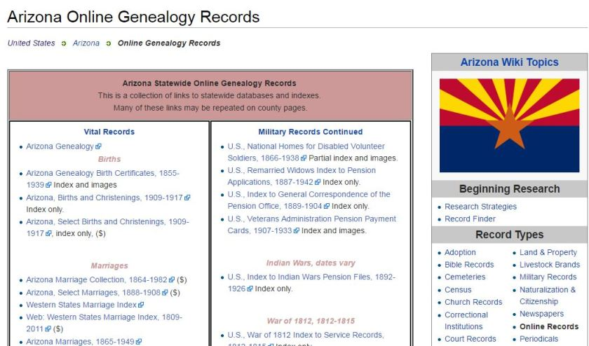 Arizona Online Genealogy Records