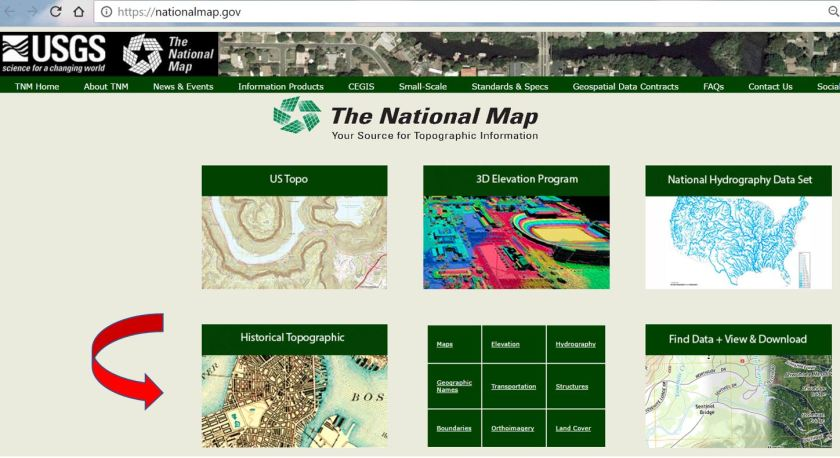 The link for the USGS Historical Topographic Map Collection is on the National Map homepage